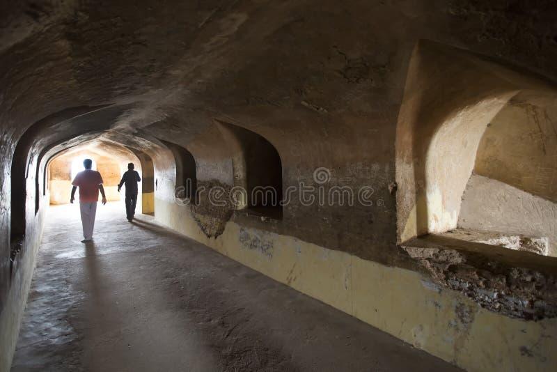 Bhool Bhulaiyan eller labyrint av det Bara Imamabara komplexet i Lucknow, Indien royaltyfri foto