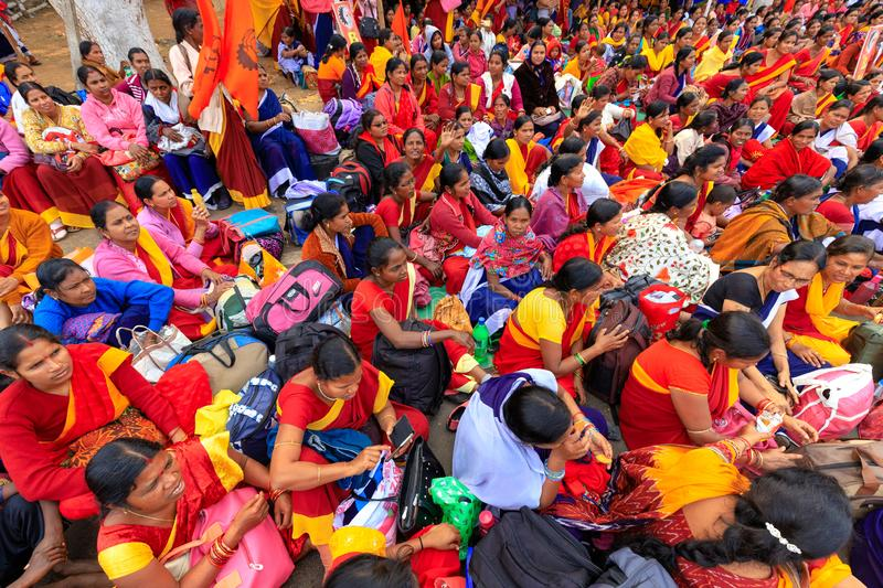 Indian women street demonstration. BHUBANESWAR, INDIA, JANUARY 11, 2019 : Women government officers are protesting in the street against the income lowering of royalty free stock images