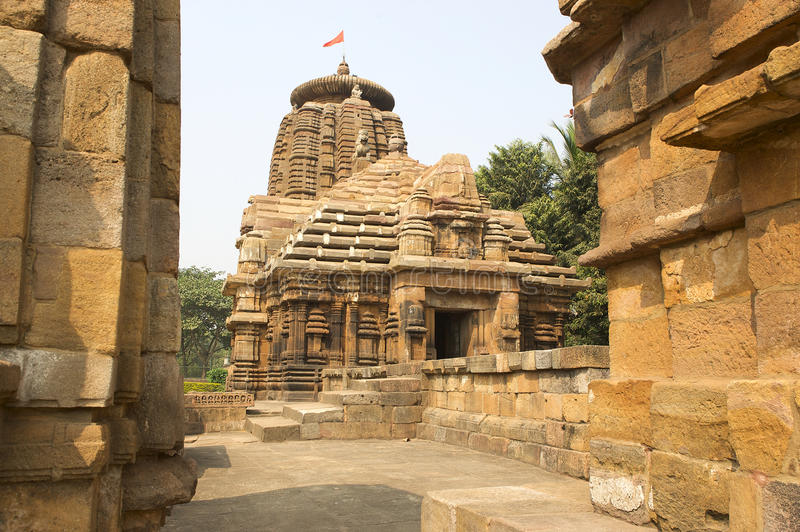 Bhubaneswar temple. India, Orissa state, we can see one of the most important hindu temple in Bhubaneswar royalty free stock image