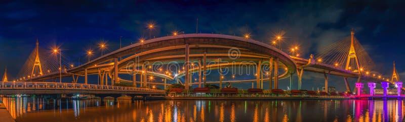 Bhumibol桥梁全景视图在夜场面的在曼谷 图库摄影