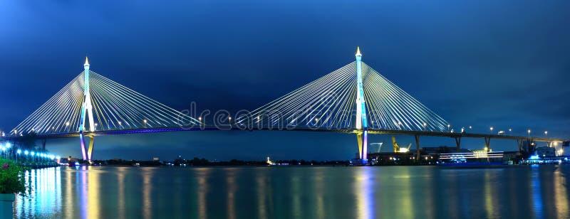 bhumibol桥梁全景prakarn samut泰国 免版税库存照片