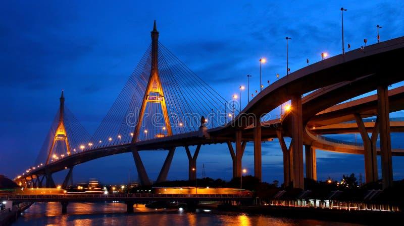 Bhumibol桥梁在晚上, 免版税库存图片