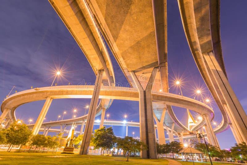 Bhumibol桥梁在晚上 免版税库存照片
