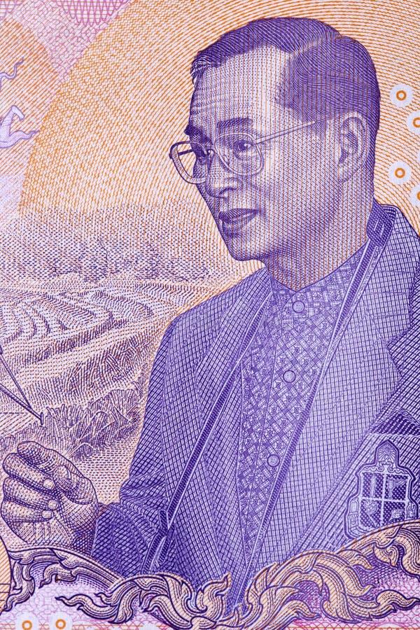 Bhumibol Adulyadej - Rama IX, a portrait. From Thai money stock photos