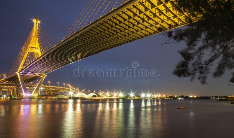Bhumibol Bridge, Chao Phraya River Bridge. Turn on the lights in many colors at night.  stock photography
