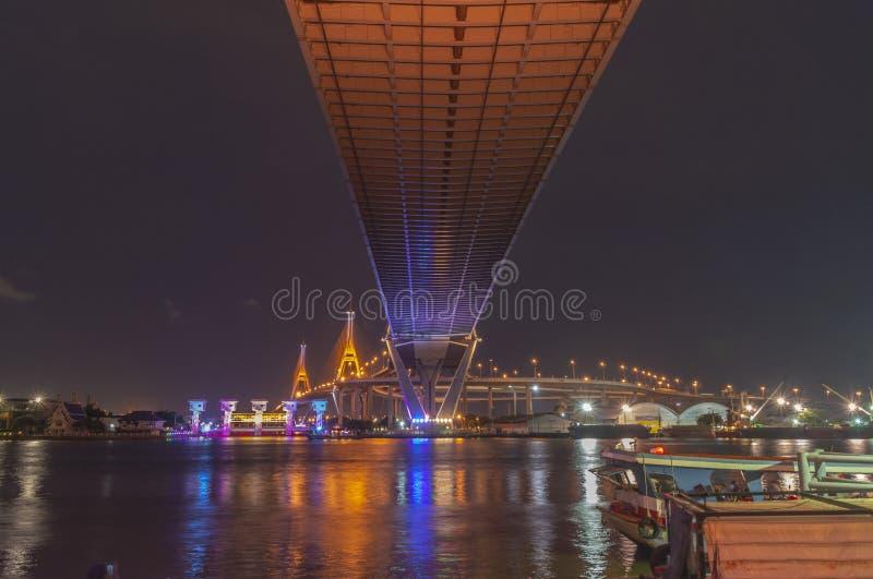 Bhumibol Bridge, Chao Phraya River Bridge. Turn on the lights in many colors at night.  royalty free stock image