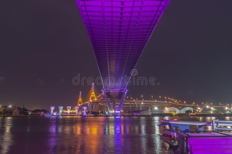 Bhumibol Bridge, Chao Phraya River Bridge. Turn on the lights in many colors at night.  royalty free stock photo