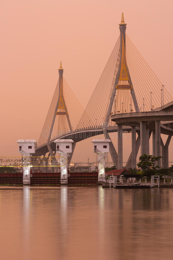 Download Bhumibol Bridge,the Industrial Ring Bridge At Dawn Stock Image - Image: 27220203