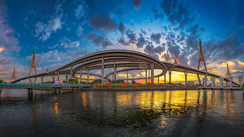 Bhumibol Bridge1. Panorama - The Bhumibol Bridge1 or Industrial Ring Bridge in night time, architecture, asia, bangkok, blue, building, cable, chao, city stock image