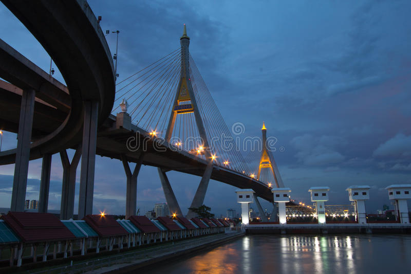 Bhumibol Bridge Of Thailand Royalty Free Stock Photos