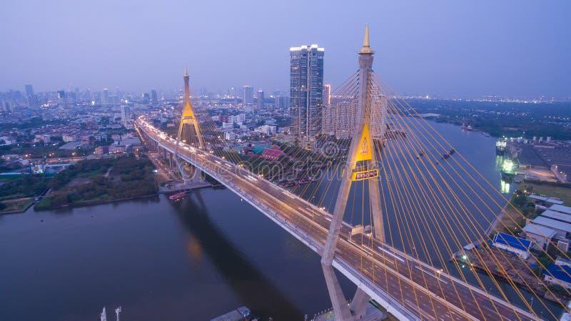 Bhumibol obwodnicy Bridżowy Przemysłowy most zdjęcie stock