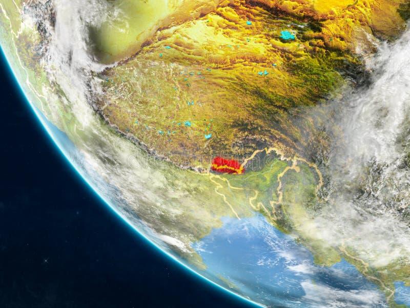 Bhután del espacio en la tierra stock de ilustración