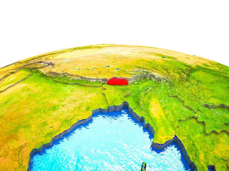 Bhután en la tierra 3D stock de ilustración