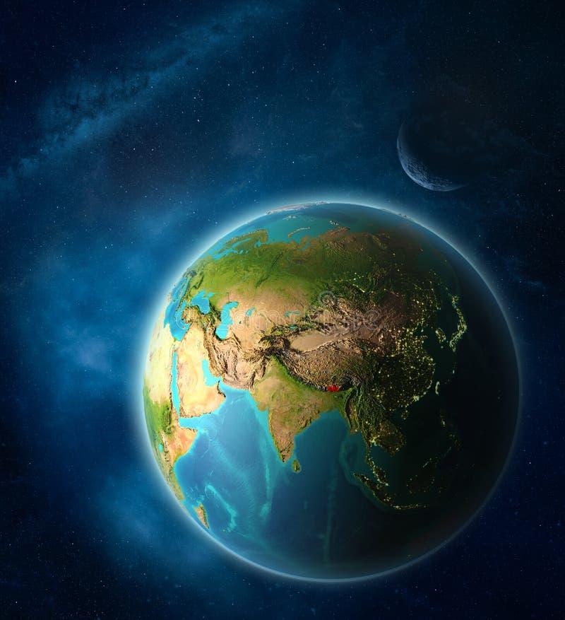 Bhután en la tierra del espacio stock de ilustración