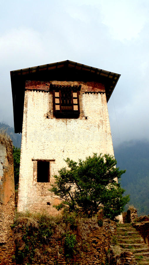 Bhutan-Architektur altes paro dzong parlimentry Haus erster dzong Kriegsdenkmalkönig von Bhutan stockbild