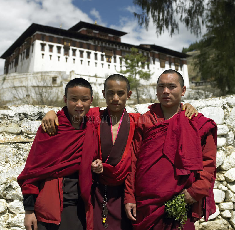 Bhutan - Buddhist Monks royalty free stock photo