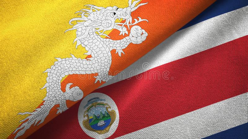 Bhutan and Costa Rica two flags textile cloth, fabric texture. Bhutan and Costa Rica flags together textile cloth, fabric texture vector illustration