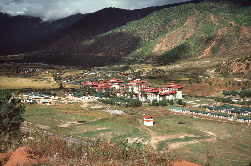 Bhutan dorp royalty-vrije stock afbeeldingen