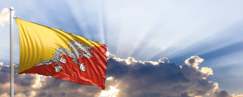 Bhutan flag on blue sky. 3d illustration vector illustration