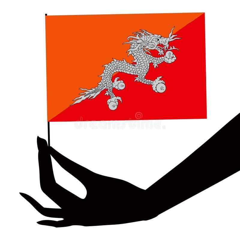 Bhutan flag in his hand stock illustration