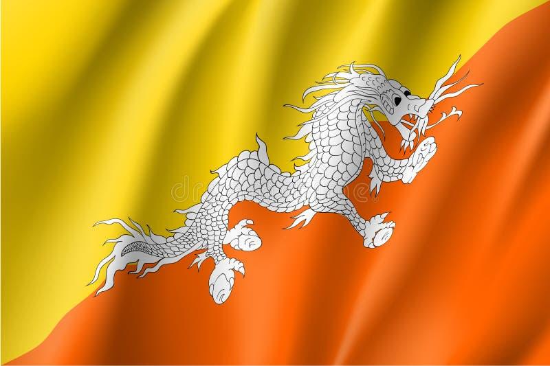 Bhutan flaga, wektorowy mieszkanie styl royalty ilustracja