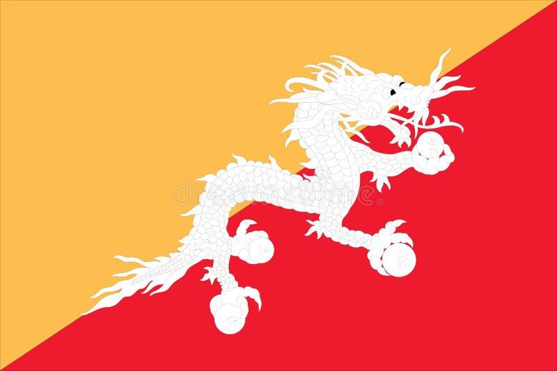 bhutan flagga royaltyfri illustrationer