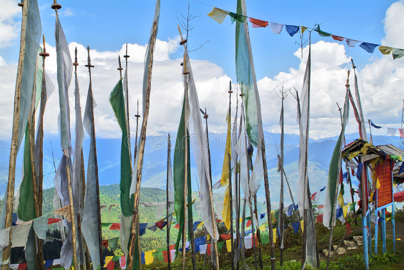 Bhutan, Haa,. Bhutan, prayer flags on Chele La Pass ( 3400 m), border between Haa and Paro district stock image