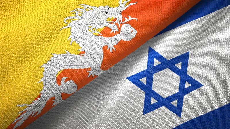 Bhutan i Izrael dwa flagi tekstylny p??tno, tkaniny tekstura ilustracja wektor