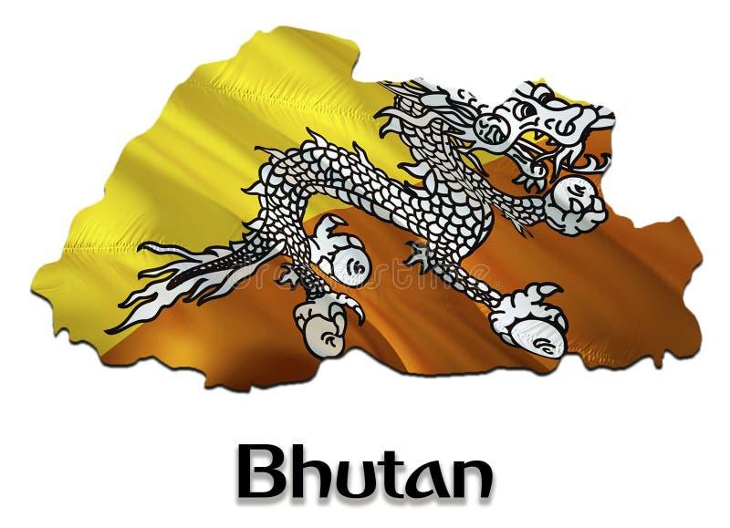 Bhutan Kaartvlag 3D het teruggeven Bhutan kaart en vlag op de kaart van Azië Het nationale symbool van Bhutan Thimphuvlag op d stock afbeeldingen