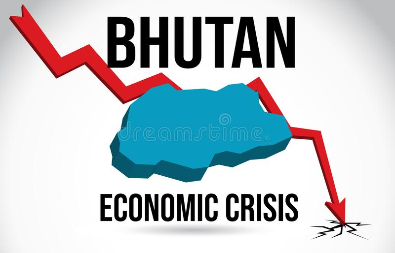 Bhutan Map Financial Crisis Economic Collapse Market Crash Global Meltdown Vector. Illustration royalty free illustration