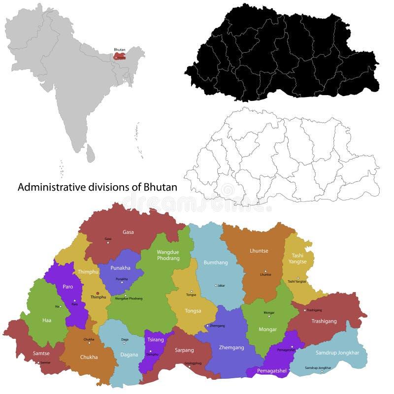 Bhutan mapa ilustracji
