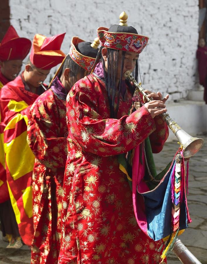 Bhutan - Paroen Tsechu arkivbild
