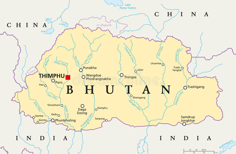 download bhutan political map stock photo image of land travel 73977654