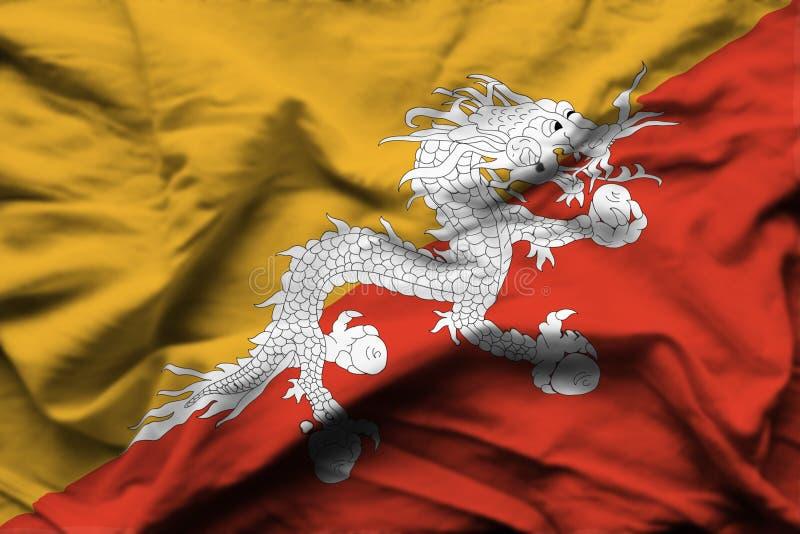 Bhutan realistisk flaggaillustration stock illustrationer