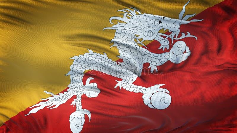 BHUTAN realistisk vinkande flaggabakgrund vektor illustrationer