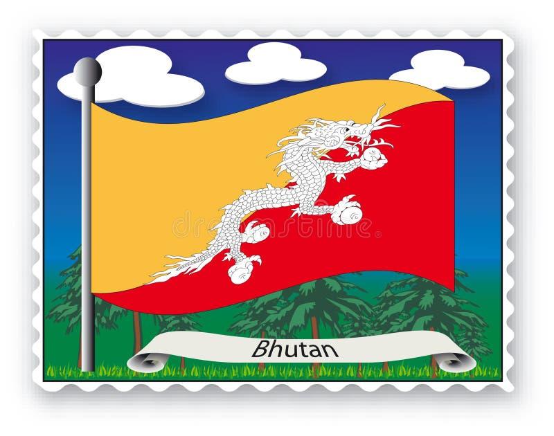 bhutan stämpel stock illustrationer