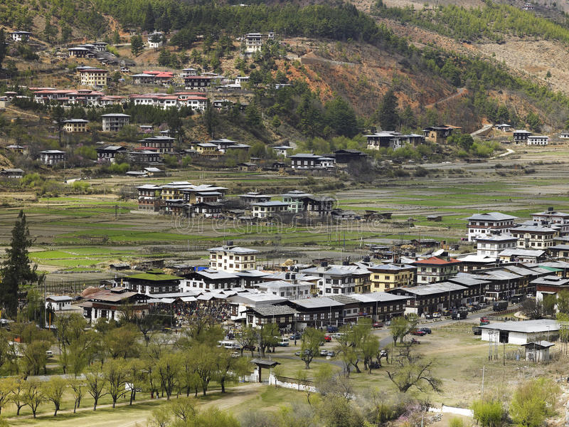 Bhutan - Town of Paro stock photo