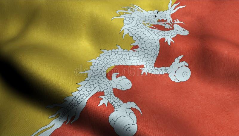 Bhutan vinkande flagga i 3D stock illustrationer