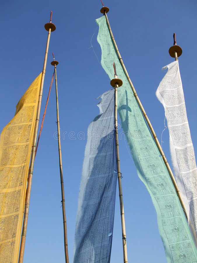 Bhutanese Flags. Photo of Bhutanese flags which serve as religious symbols royalty free stock photography
