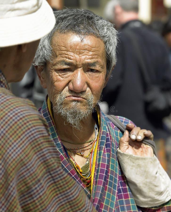 Bhutanese man at Paro Market - Bhutan royalty free stock images