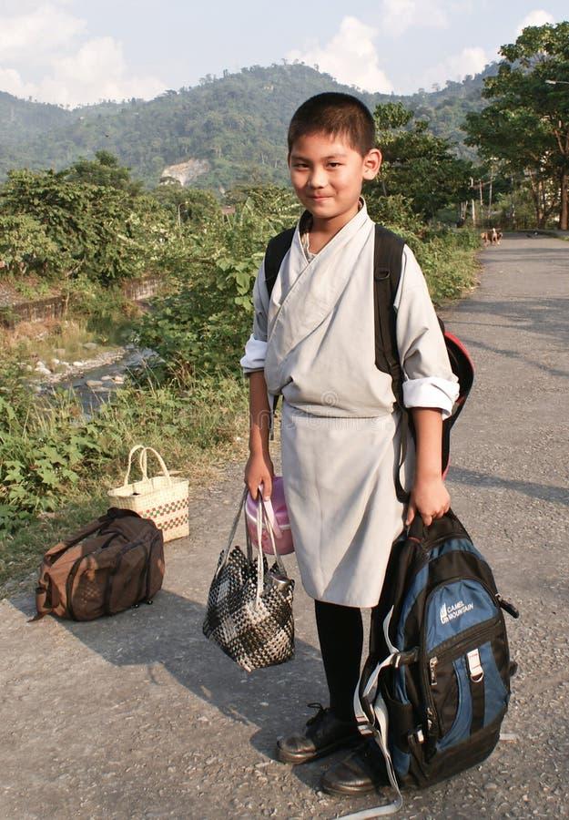 A bhutanese school boy royalty free stock photos