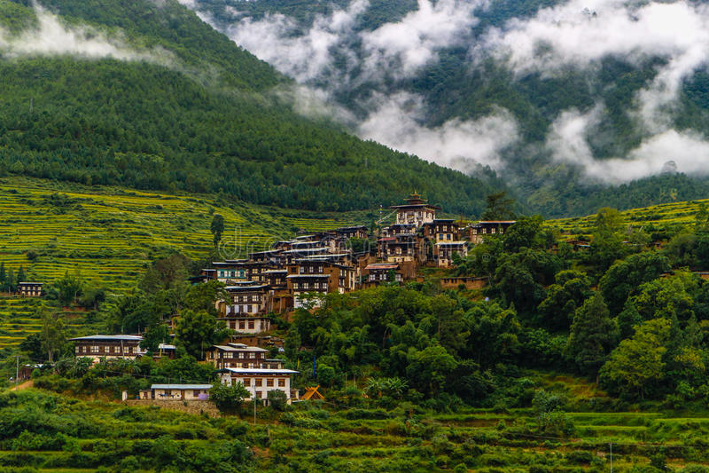 Bhutanese village near the river at Punakha, Bhutan stock photography