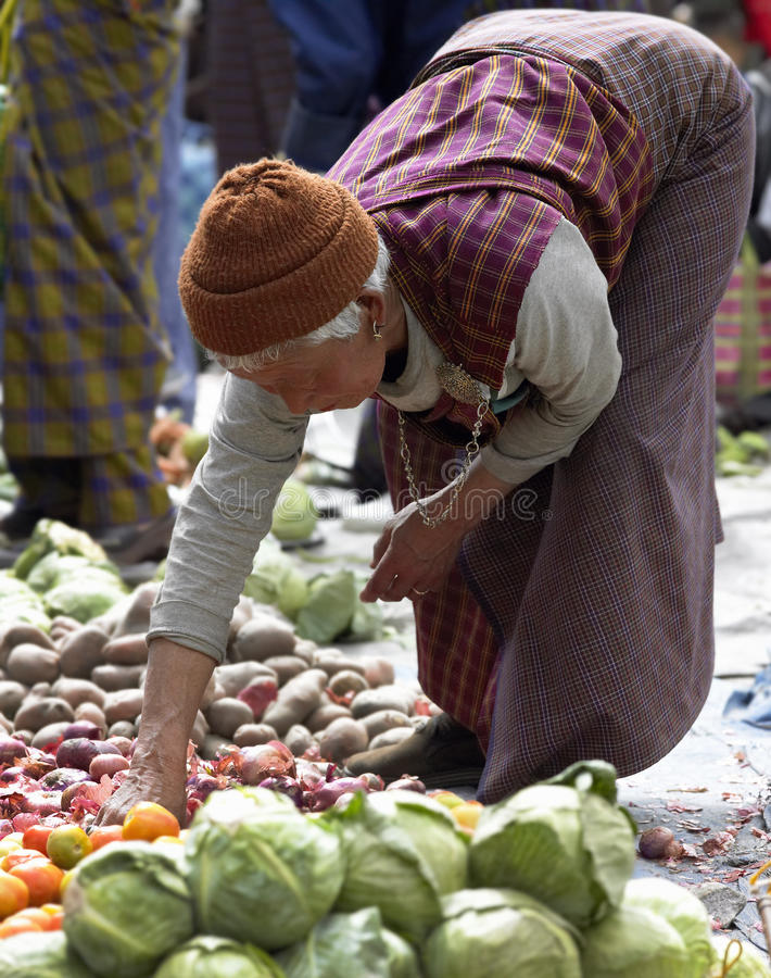 Bhutanese woman at Paro Market - Bhutan stock photo