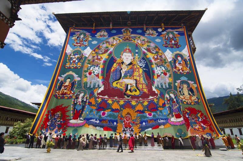 Bhutanesiska enorma Guru Rinpoche Thangka, Trashi Chhoe Dzong, Thimphu, Bhutan royaltyfri foto