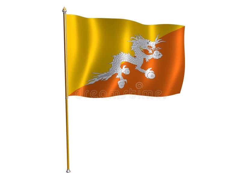 Bhutani silk flag. Silk flag of Bhutan stock illustration