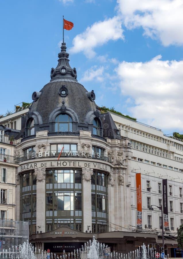 BHV Bazar De L «Hotelu De Ville domu towarowego wejście - Paryż obraz royalty free