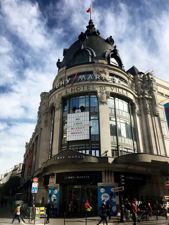 BHV wydziałowy sklep wejściowy Paryski Francja obrazy royalty free