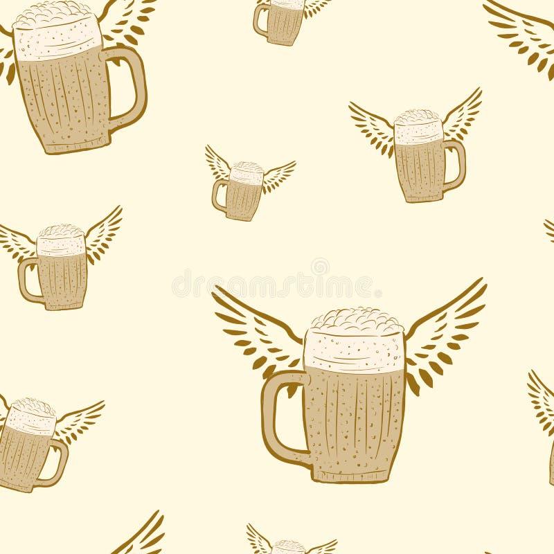 Bière à ailes sans couture illustration stock