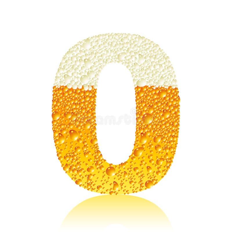 Bière 0 d'alphabet illustration stock