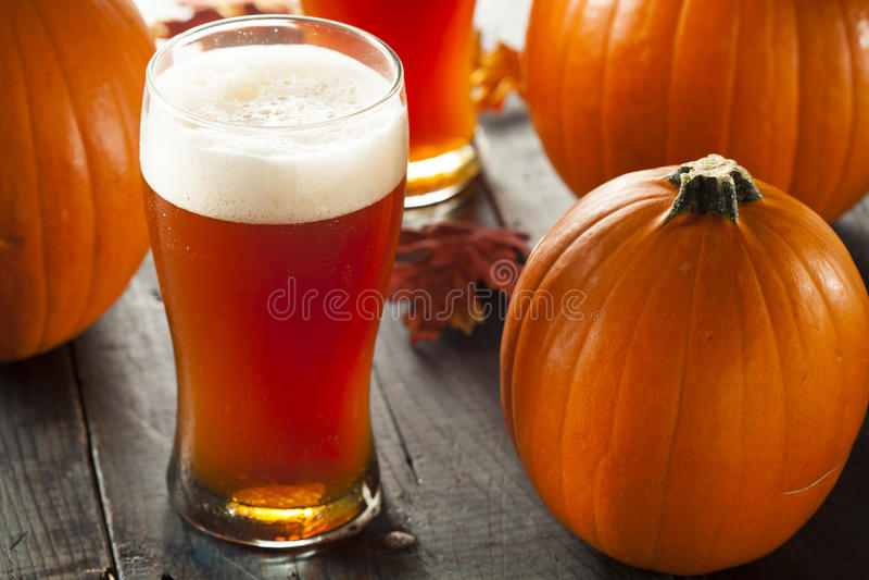 Bière anglaise orange écumeuse de potiron image libre de droits